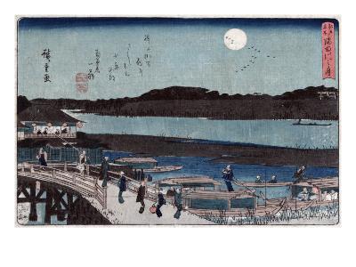 Moon over Sumida River, Japanese Wood-Cut Print