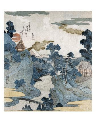 Evening View of Fuji, Japanese Wood-Cut Print