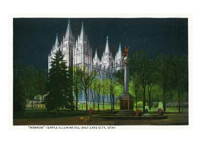 Salt Lake City, Utah, Exterior View of the Mormon Temple Illuminated at Night