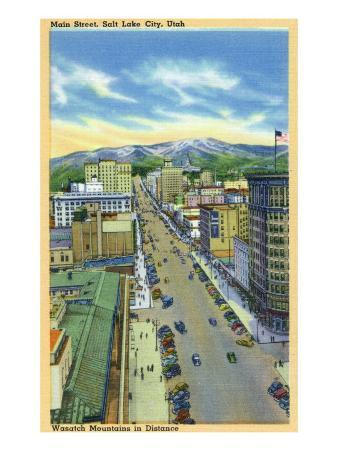 Salt Lake City, Utah, Aerial View of Main Street