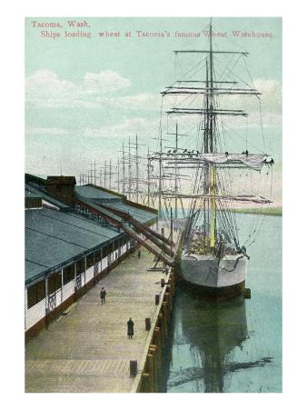 Tacoma, Washington, View of Docked Ships Loading with Wheat