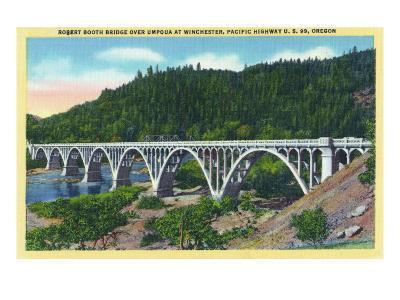 Winchester, Oregon, View of the Booth Bridge over Umpqua River