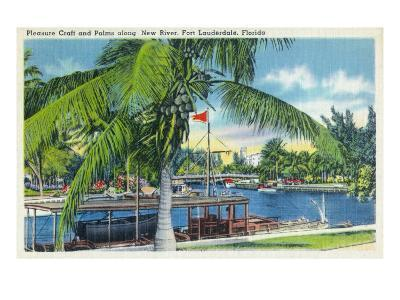 Ft. Lauderdale, Florida, New River View of Boats and Palms