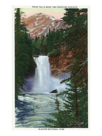 Glacier National Park, Montana, View of Trick Falls near Two Medicine Chalets