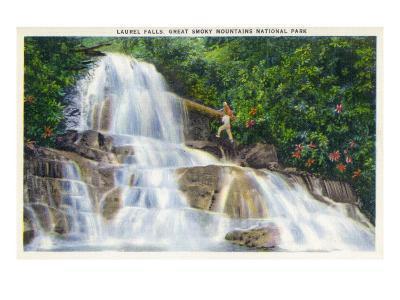 Great Smoky Mts National Park, TN, View of a Hiker Ascending Laurel Falls