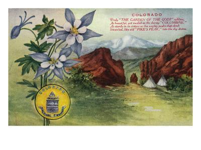 Colorado, View of Garden of the Gods, Pikes Peak, Columbine Flowers