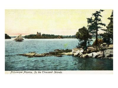 Thousand Island, New York, A Picturesque American Scene of Islands and a Boat
