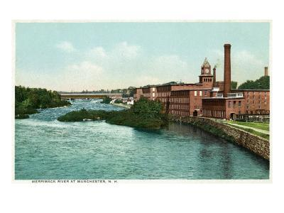 Manchester, New Hampshire, Merrimack River View of Factories