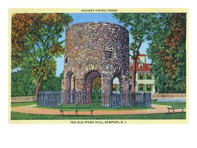 Newport, Rhode Island, View of the Old Stone Mill, Ancient Viking Tower