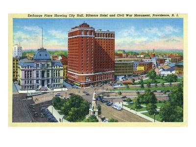 Providence, RI, Exchange Place with City Hall, Biltmore Hotel, Civil War Monument