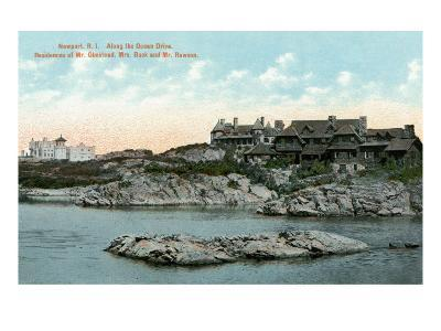 Newport, Rhode Island, Ocean Drive View of Two Large Mansions