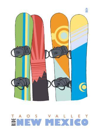 Taos Valley, New Mexico, Snowboards in the Snow