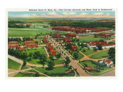 Fort Knox, Kentucky, Aerial View of the Entrance Drive, 1st Cavalry Barracks