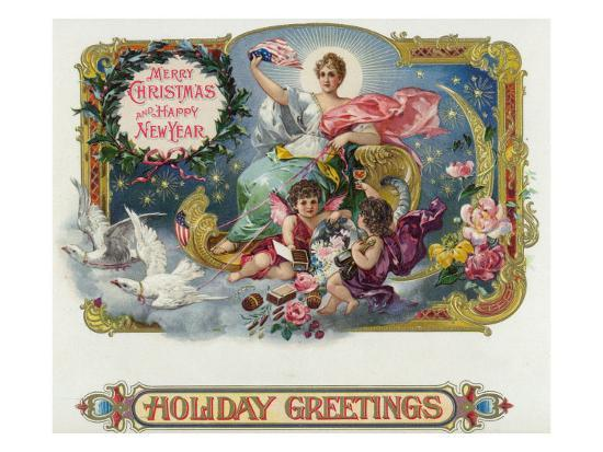 holiday greetings brand cigar box label merry christmas and happy new year