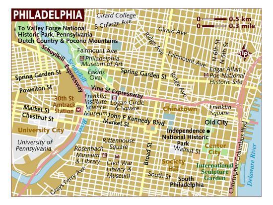 Map of Philadelphia, United States, North America