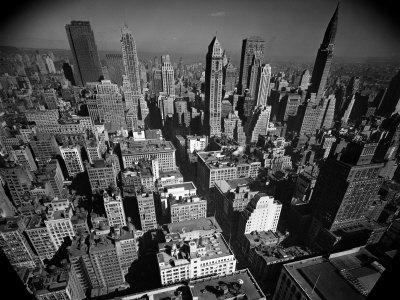 Aerial View of New York City Looking Uptown