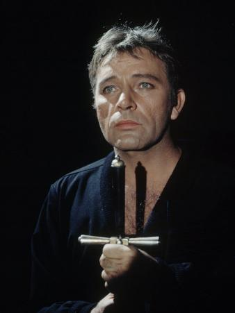 "Actor Richard Burton Gripping Hilt of Sword During Scene from ""Hamlet"" on Broadway"