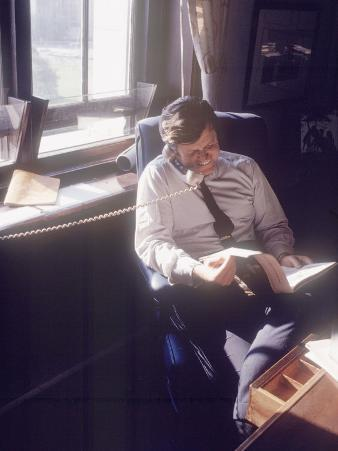 Senator Edward M. Kennedy on the Phone in His Office, Probably in Washington Dc
