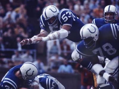 Baltimore Colts Football Player Dennis Gaubatz in Action