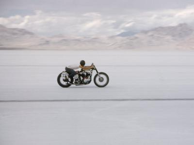 Speeding Motorcycle During Bonneville Hot Rod Meet at the Bonneville Salt Flats in Utah
