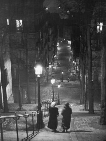 Pair of Prostitutes Descending Stairs after Dark in Montmartre