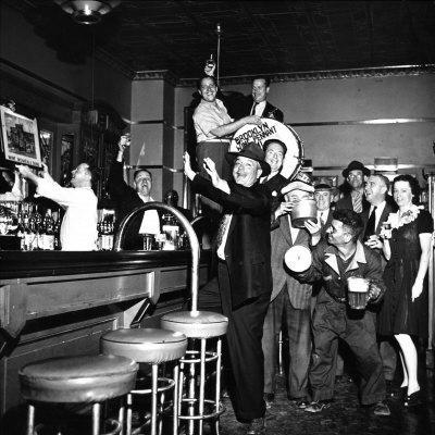 Brooklyn Dodger Fans at a Bar Celebrating Dodgers' Winning of the National League Pennant
