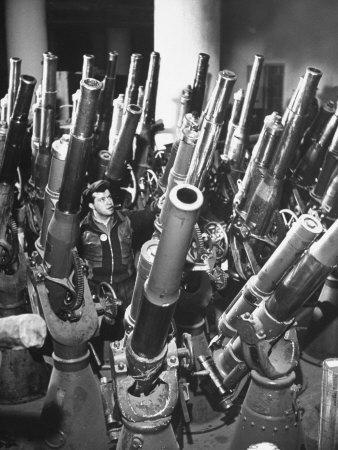 Brooklyn Naval Yard Worker Looking over a Storage of Guns