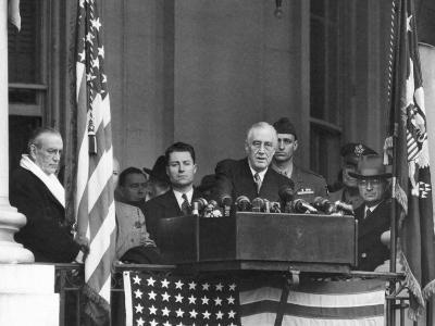 VP Harry S. Truman Sitting in Background as President Franklin D. Roosevelt Makes Inaugural Address