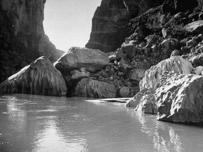 Mariscal Canyon, with Steep, Jagged Walls Rising Sharply from River, at Big Bend National Park