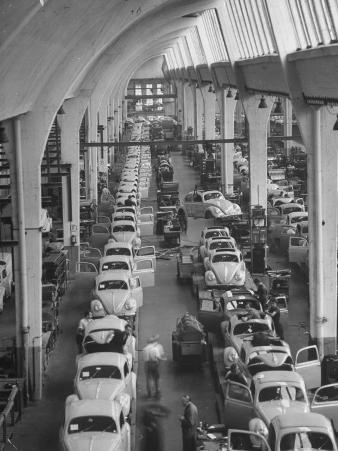Interior View of Volkswagen Plant, Showing Assembly Lines