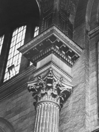 Ornate Classical Corinthian Column in Interior of Penn Station