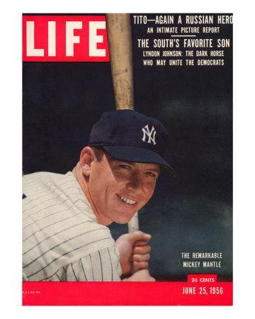 Ny Yankee Slugger Mickey Mantle June 25 1956