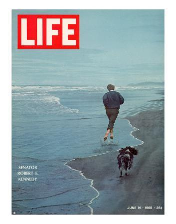 Robert F. Kennedy Jogging on the Beach with his Dog, June 14, 1968