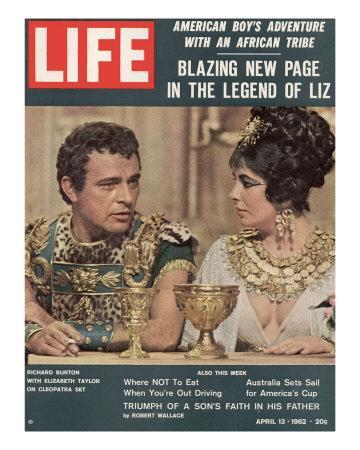 "Actors Richard Burton and Elizabeth Taylor on Set of Film ""Cleopatra,"", April 13, 1962"