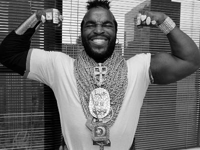 Mr. T Flexing, Showing off Muscles and Jewelry