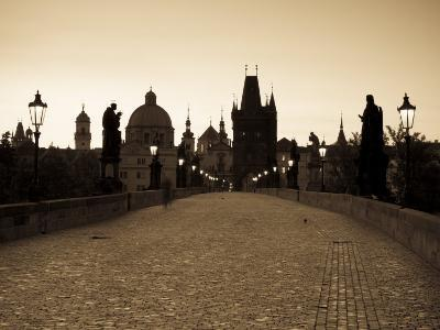Old Town and Charles Bridge at Dawn, Prague, Czech Republic