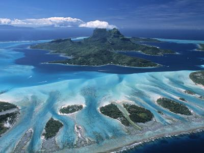 Aerial View over Bora Bora, French Polynesia