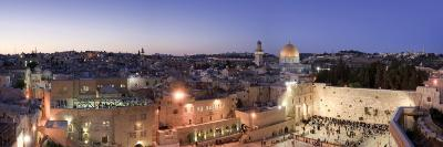 Western Wall, Dome of the Rock Mosque and Panoramic View of the Old City of Jerusalem, Israel