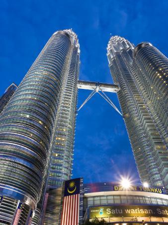 Petronas Towers and Malaysian National Flag, Kuala Lumpur, Malaysia