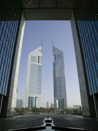 Emirates Towers Through Dubai International Financial Center Arch, Sheikh Zayed Road, Dubai, UAE