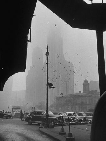Surrounding the City in Fog, with City Hall and Woolworth Building in Background