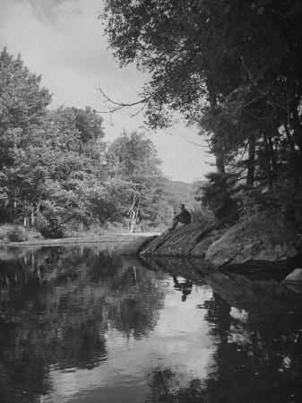 Man Sitting on the Bank of the Upper Opalescent River, a Branch of the Hudson