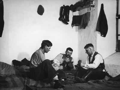 Trio of Czech Peasants Playing Cards in the Season Workers House on the Anyala Farm