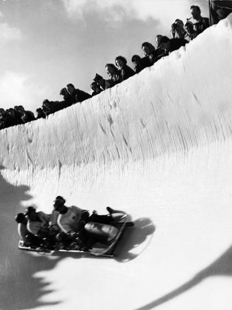 Good of Cresta Run, Bobsled Run, Coasting around Sunny Bend as People Peer from Above the Track