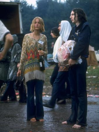 Couple Standing Barefoot on a Road Holding a Bundle and Wine Bottle, Woodstock Music and Art Fair