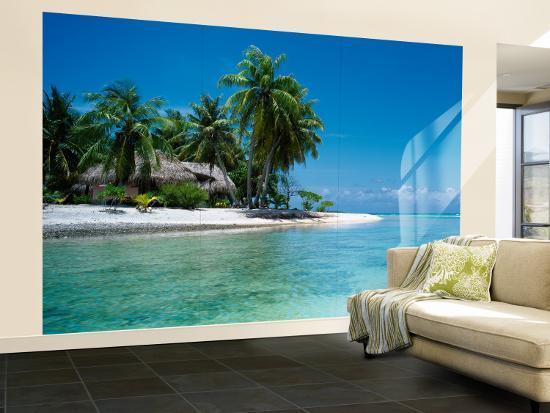 Palm Trees On The Beach Tikehau French Polynesia Wall