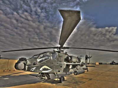 Seven Exposure HDR Image of a Stationary AH-64D Apache Helicopter