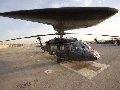 UH-60 Blackhawk Medivac Helicopter Sits on the Flight Deck at Camp Warhorse