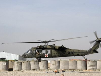 UH-60 Blackhawk Prepares to Land at Camp Warhorse to Refuel