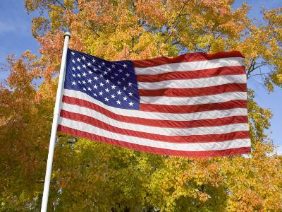 Old Glory Unfurls Against Autumn Colors, Waldorf, Maryland